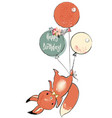 cute squirrel with balloons vector image
