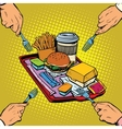Full tray of fast food vector image