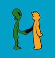 handshake between alien and human vector image