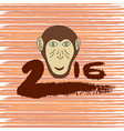 new year print monkey cartoon hand drawn symbol vector image