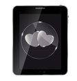 Heart glass Button on tablet vector image