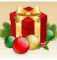 Christmas gift box with balls and fir tree vector image