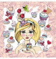 sweet cupcake party background pattern vector image