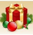 Christmas gift box with balls and fir tree vector image
