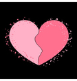 Halves heart icon pink vector image