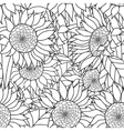 Seamless Sunflowers bouquet Coloring book vector image