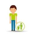 boy cartoon save earth garbage trash can icon vector image