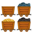 mining products in wooden carts vector image vector image