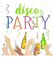 many hands raised up with disco party text vector image