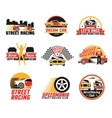 Street Racing Logo Emblems Icons Set vector image
