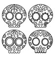 day of the dead set of skulls black outline for vector image