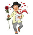 guy goes with a rose in his hand and reads the vector image