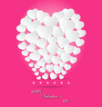 Valentines Day of White Paper Heart Balloons on vector image