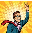 Successful retro businessman a gesture of victory vector image vector image