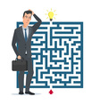 Flat design concept Businessman thinking how to vector image