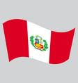 flag of peru waving on gray background vector image