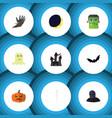 Flat icon celebrate set of zombie pumpkin vector image