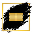 soccer field golden icon at black spot vector image