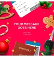 Winter holiday Christmas travel template vector image