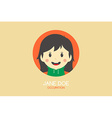 woman cartoon theme business card vector image