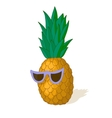 hand drawn pineapple in sunglasses vector image