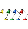 Table lamps in four colors vector image
