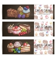 Cupcakes cakes pastries desserts poster vector image