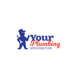 Plumbing logo with repairman holding wrench vector image