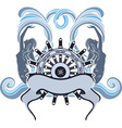 Marine emblem wheel and mermaid vector image