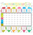 School timetable and calendar 2014 2015 vector image vector image