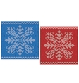 Red and blue stitch patterns with snowflakes vector image vector image