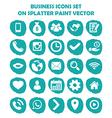 Business icon set on blue light splatter paint Fla vector image