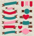 Collection ribbons vintage labels geometric vector image