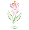Doodle color abstract handdrawn gladiolus vector image