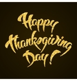 Happy Thanksgiving Day gold glitter hand lettering vector image