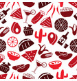 mexican food theme set of icons seamless pattern vector image