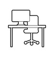 office desk computer chair furniture workspace vector image