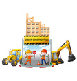 Workers and building under construction vector image