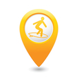 surfing icon yellow map pointer vector image vector image