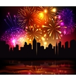 Fireworks City Background vector image