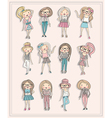 cartoon girls fashion children set of cute girls vector image
