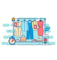 clothes shopping concept thin line vector image