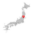 japan map with seismic epicenter vector image