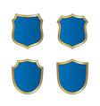 shield gold blue icons set shape emblem vector image