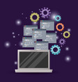violet background with brightness of laptop device vector image