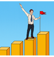 Pop Art Businessman with Flag on the Top vector image