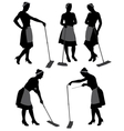 Charwoman Silhouette vector image vector image