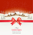 Holiday Christmas background with a village and a vector image vector image