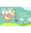 Easter bunnieschicken and easter eggs vector image