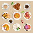 Coffee And Sweets Top View Set vector image